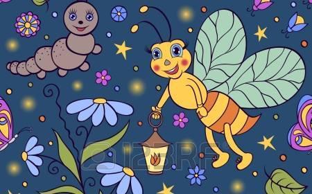 21167915-illustrazione-vettoriale-di-seamless-con-cute-lucciola-nella-notte