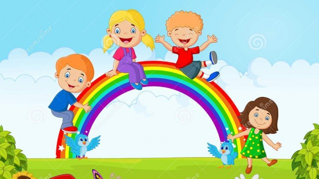 cartoon-happy-kids-sitting-rainbow-illustration-55852331